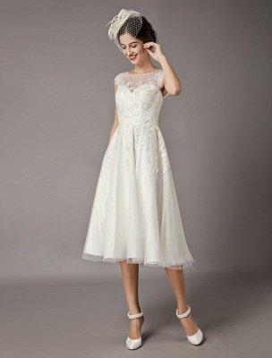 Vintage Wedding Dresses Short Lace Tulle Sequin Tea Length Ivory Bridal Dress_2