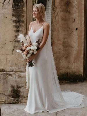Weißes einfaches Brautkleid mit Zugmantel V-Ausschnitt Spaghetti-Trägern ärmellose natürliche Taille rückenfreie lange Brautkleider_2