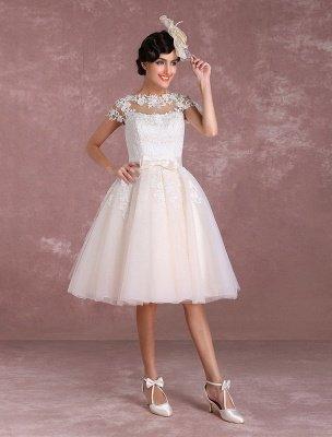 Vestidos de novia vintage Vestido de novia corto con apliques de encaje Vestido de novia con lazo de ilusión Vestido de novia exclusivo_3