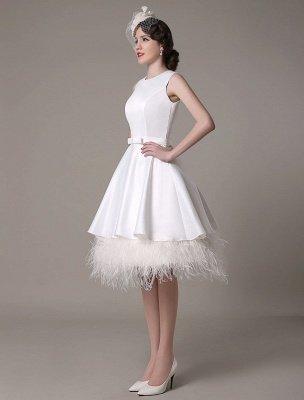 Vestido de novia de corte A hasta la rodilla Vestido de novia con lazo de satén escalonado con plumas Exclusivo_4