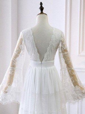 Boho Brautkleider 2021 A Line tiefer V-Ausschnitt Multilayer Lace Chiffon Beach Party Dress Brautkleider_6