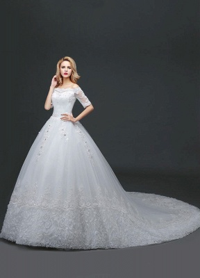 Princess Wedding Dress Off The Shoulder Lace Beading Bridal Gown White Half Sleeve Ball Gown Bridal Dress With Cathedral Train_2