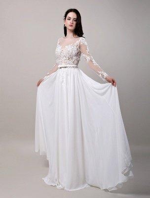 Boho Beach Sheer Lace Mousseline de soie Tulle Manches longues Deep V Back Backless Robe de mariée_4