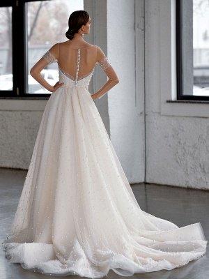 Robe de mariée blanche A-Line Robes de mariée Robe de mariée en tulle perlé_2