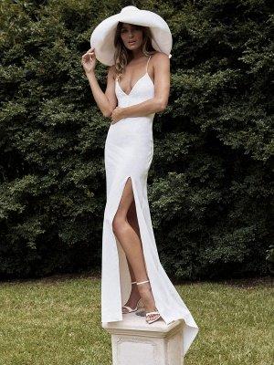 White Simple Wedding Dress Sheath V-Neck Sleeveless Backless Natural Waist Criss-Cross Split Front Lace-Up Bridal Dresses_3