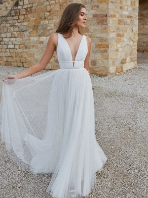 White Simple Wedding Dress A-Line V-Neck Sleeveless Floor-Length Pleated Tulle Bridal Gowns_5