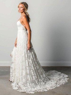 Strandhochzeitskleid mit Kapelle-Schleppe Weiß V-Ausschnitt Ärmellos Rückenfrei Spitze Split Lange Brautkleider_5