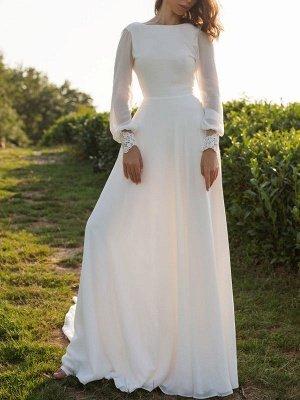 Einfaches Hochzeitskleid Lycra Spandex Bateau-Ausschnitt mit langen Ärmeln Spitze A-Linie Brautkleider_2