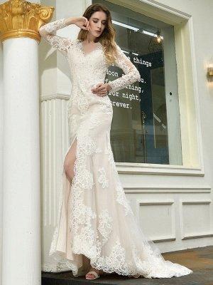 Vestido de novia boho Cuello en V Sin mangas Cintura natural Vestidos de novia de encaje con tren_4