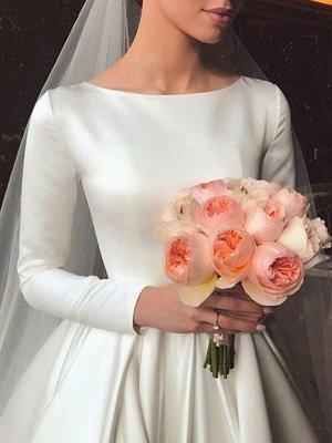 Vintage Brautkleid Jewel Neck Ärmellos Natürliche Taille Satin Stoff Kapelle-Schleppe Plissee Traditionelle Kleider Für Die Braut_4