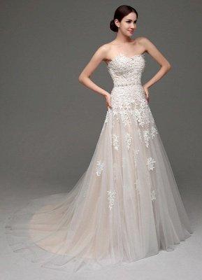 Robes de mariée Champagne Tulle Bretelles Sweatheart Dentelle Sash Robe de mariée_4