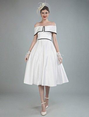 Vintage Wedding Dresses Satin Off The Shoulder A Line Tea Length Short Bridal Gowns Exclusive_1