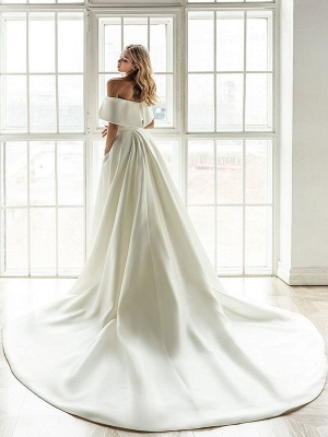 Robe de mariée vintage blanche avec train en satin sur l'épaule robe de mariée plissée sirène robes de mariée_3