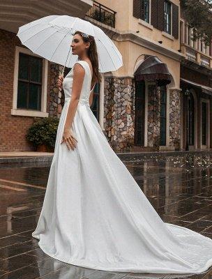 Robes de mariée A-Ligne Traîne Tribunal Sans Manches Ceinture Bijou Cou Robes De Mariée Exclusif_5
