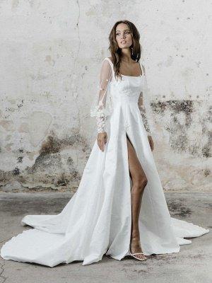 Robe de mariée simple blanche A-ligne col carré manches longues dos nu appliques découpes fendues devant longues robes de mariée_1