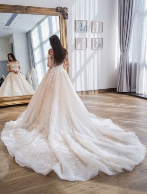 Prinzessin Ballkleid Brautkleider Spitze bestickt Schulterfrei Royal Brautkleid mit Zug_5