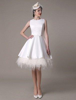 Vestido de novia de corte A hasta la rodilla Vestido de novia con lazo de satén escalonado con plumas Exclusivo_3