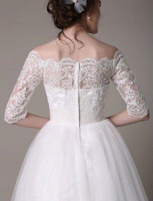 Robes de mariée en dentelle 2021 courtes sur l'épaule une ligne longueur au genou taille strass robe de mariée exclusive_7