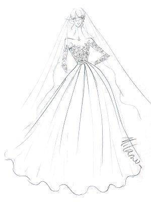 Wedding Dress Princess Silhouette Jewel Neck Long Sleeves Natural Waist Lace Satin Fabric Bridal Dresses_3