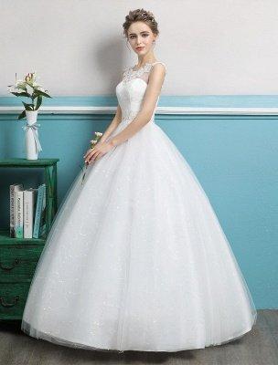 Princess Ball Gown Wedding Dresses Tulle Backless Ivory Beading Floor Length Bridal Dress_2
