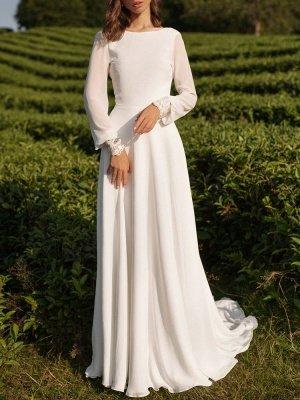 Einfaches Hochzeitskleid Lycra Spandex Bateau-Ausschnitt mit langen Ärmeln Spitze A-Linie Brautkleider_3