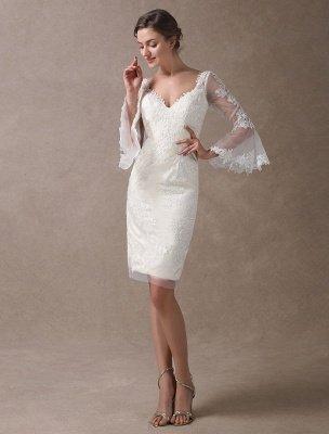 Boho Wedding Dresses Short Sheath Beach Bridal Dress Bell Sleeve Lace Applique V Neck Knee Length Summer Wedding Gowns Exclusive_3