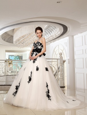 Wedding Dresses Strapless Black Bridal Gown Lace Applique Flowers Sash Beaded Court Train Ivory Tulle Bridal Dress Exclusive_3