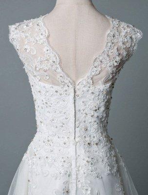 Robe de mariée vintage thé longueur bijou cou sans manches une ligne taille naturelle Tulle courte robe de mariée exclusive_6