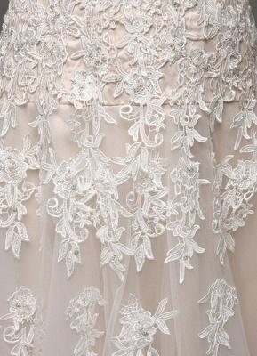 Robes de mariée Champagne Tulle Bretelles Sweatheart Dentelle Sash Robe de mariée_7