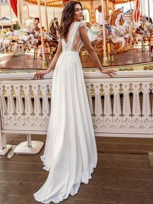 Weißes einfaches Brautkleid A-Linie Hof-Schleppe V-Ausschnitt Natürliche Taille Ärmellos Chiffon Spitze Brautkleider_3