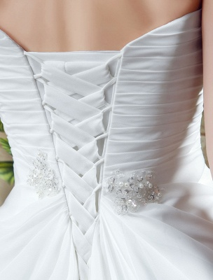 White Wedding Dress Strapless Twisted Split Rhinestone Chiffon Wedding Gown_6