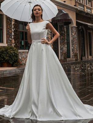 Robes de mariée A-Ligne Traîne Tribunal Sans Manches Ceinture Bijou Cou Robes De Mariée Exclusif_1