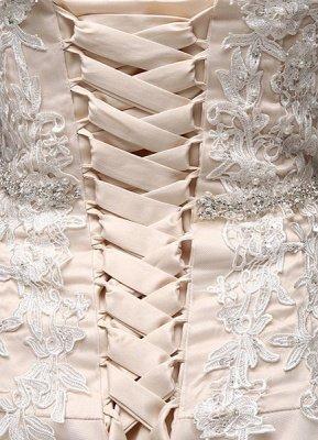 Robes de mariée Champagne Tulle Bretelles Sweatheart Dentelle Sash Robe de mariée_6