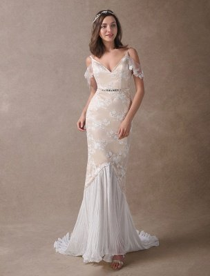 Boho Wedding Dresses Champagne Lace Beach Bridal Dress Mermaid V Neck Backless Beaded Summer Wedding Gowns Exclusive_5