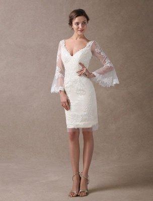 Boho Wedding Dresses Short Sheath Beach Bridal Dress Bell Sleeve Lace Applique V Neck Knee Length Summer Wedding Gowns Exclusive_2