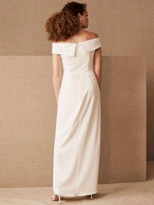 Simple Wedding Dress Black Stretch Crepe Bateau Neck Short Sleeves Pleated Sheath Bridal Gowns_2