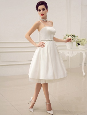 Vintage Spaghetti Straps Backless Satin Short Wedding Dress With Pearls At Waist Exclusive_3