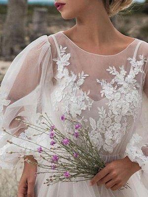 Einfaches Brautkleid A-Linie Tüll Jewel Neck Long Sleeves Lace Brautkleider_3