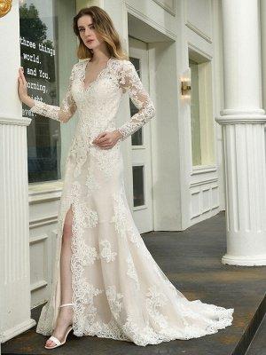 Vestido de novia boho Cuello en V Sin mangas Cintura natural Vestidos de novia de encaje con tren_5