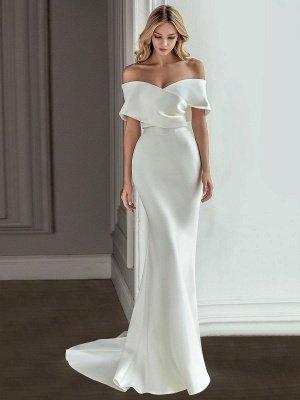 Robe de mariée vintage blanche avec train en satin sur l'épaule robe de mariée plissée sirène robes de mariée_2