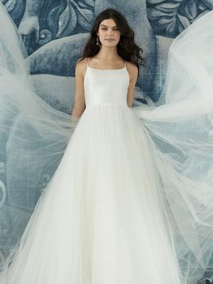 Robe de mariée blanche conçue décolleté sans manches dos nu fermeture éclair à plusieurs niveaux avec train tulle longues robes de mariée_5