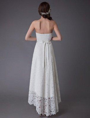 Einfache Brautkleider Spitze High Low Trägerlose Schärpe Asymmetrisches Kurzes Brautkleid Exklusiv_7