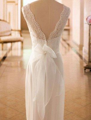 Einfaches Brautkleid A-Linie Spitze V-Ausschnitt Ärmellose Schleifen Brautkleider mit Kapelle Zug_5