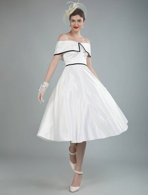Vintage Wedding Dresses Satin Off The Shoulder A Line Tea Length Short Bridal Gowns Exclusive_4