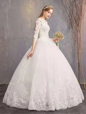 Brautkleider Eric White Jewel Neck Half-Sleeve Soft Tüll Lace Up Bodenlangen Brautkleider_4