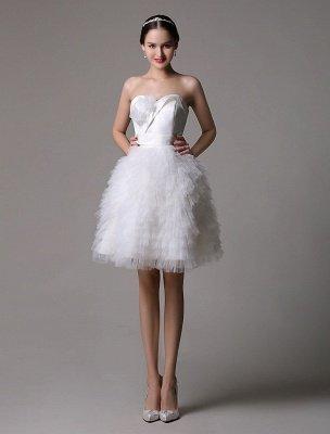Trägerloses Sweatheart kurzes Brautkleid aus Satin mit müdem Tüllrock_2
