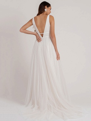 White Simple Wedding Dress A-Line V-Neck Sleeveless Floor-Length Pleated Tulle Bridal Gowns_3