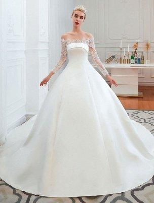 Vintage Wedding Dress 2021 Off The Shoulder Long Sleeve Princess Satin Floor Length Bridal Gowns With Train_1