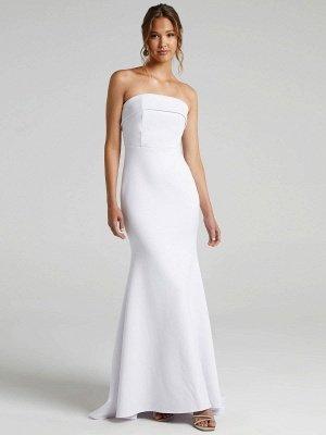 Weißes einfaches Brautkleid Meerjungfrau Pinsel Zug Reißverschluss trägerlose Polyester Brautkleider_4