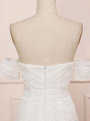 Weißes Spitze Brautkleid bodenlangen Mantel Ärmellos Spitze Schatz-Ausschnitt Brautkleider Zug Kleid_5
